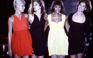 Linda, Cindy, Naomi and Christy in Versace 1991