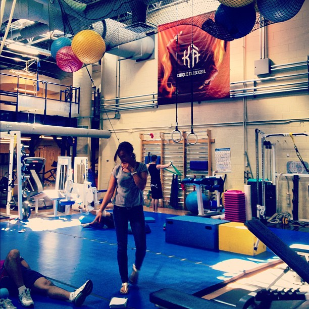 The gym for the performers at Cirque du Soleil