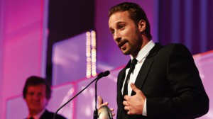 Matthias Schoenaerts accepts the Best Film Award for Jacques Audiard's Rust and Bone