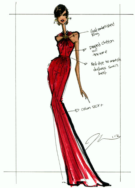 Jason Wu sketch of the inauguration dress