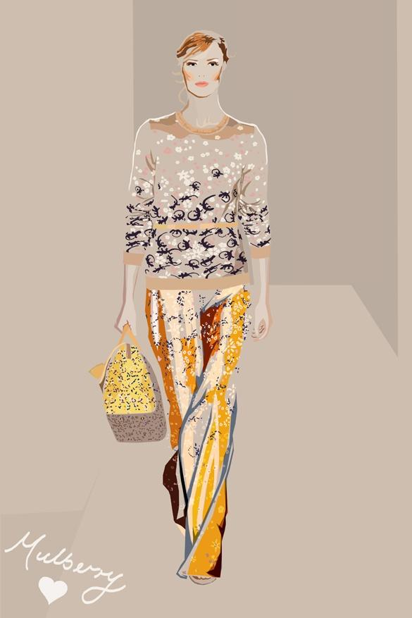 Mulberry SS13 Catwalk Illustration by Jennifer Roberts