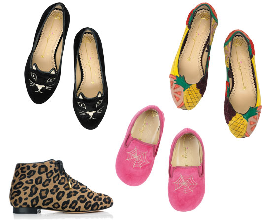 Clockwise from top left: Kitty and Tutti Frutti flats, £195; Wincy slippers, £75; Beatrix boots. £295