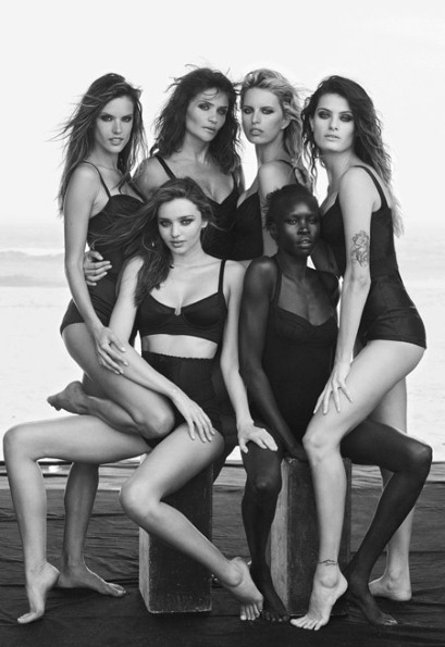 Clockwise from left: Alessandra Ambrosio, Helena Christensen, Karolina Kurkova, Isabeli Fontana, Alek Wek and Miranda Kerr Photo: Peter Lindbergh