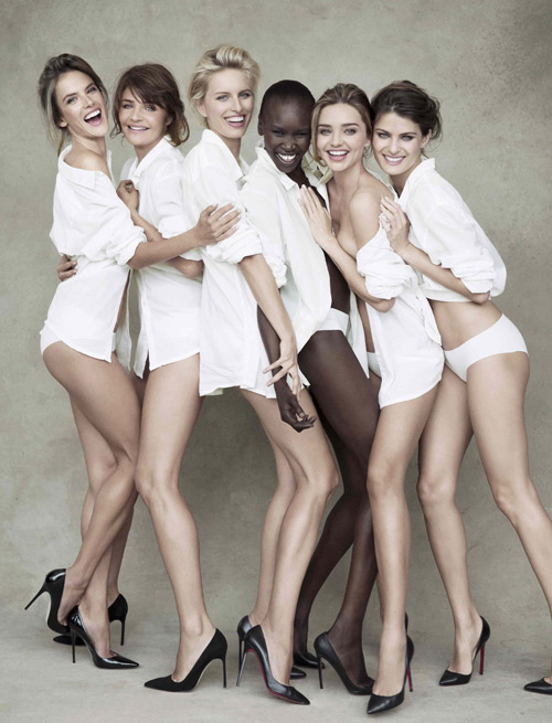 Left to right: Alessandra Ambrosio, Helena Christensen, Karolina Kurkova, Alek Wek, Miranda Kerr and Isabeli Fontana. Photo: Patrick Demarchelier