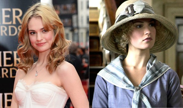 Lily James and her Downton Abbey character Lady Rose MacClare