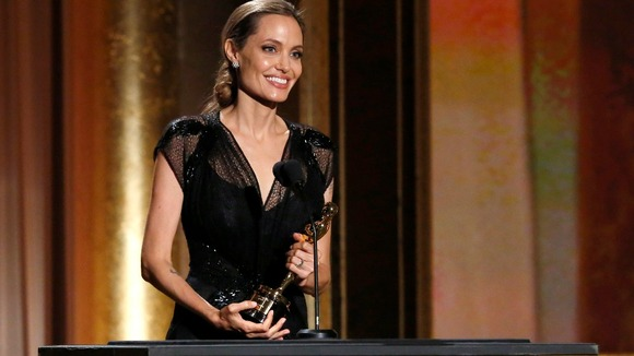 Angelina Jolie collecting her award in November.