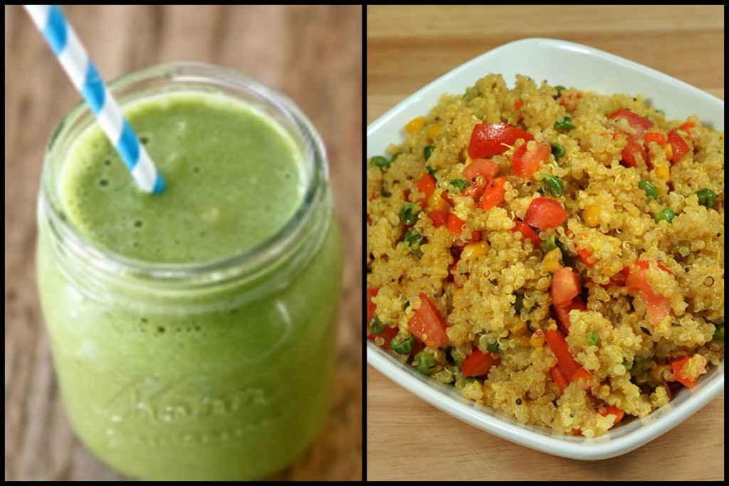 Healthy eating: green smoothies and quinoa