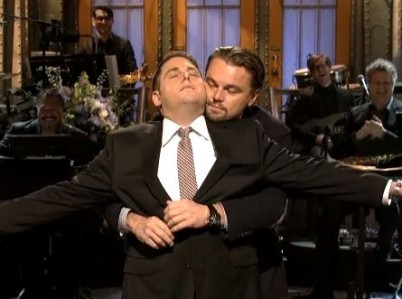 Jonah Hill and Leonardo DiCaprio on Saturday Night Live.