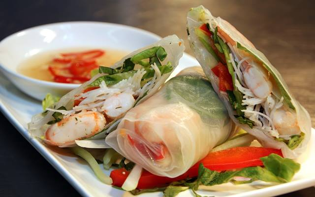 Pure Taste Pop-Up's prawn summer rolls with nuoc cham dipping sauce.