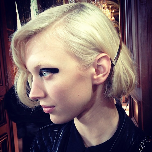 Juliana Schurig's backstage hair for Dries Van Noten