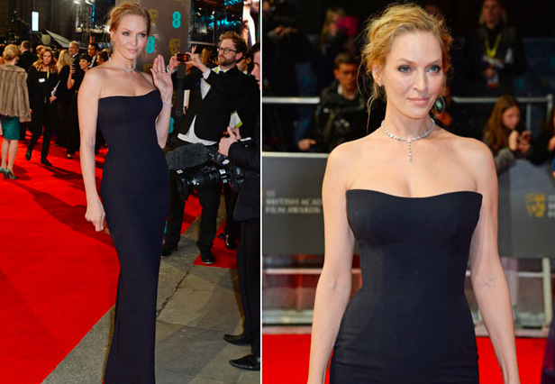 Uma Thurman at the BAFTAs 2014.