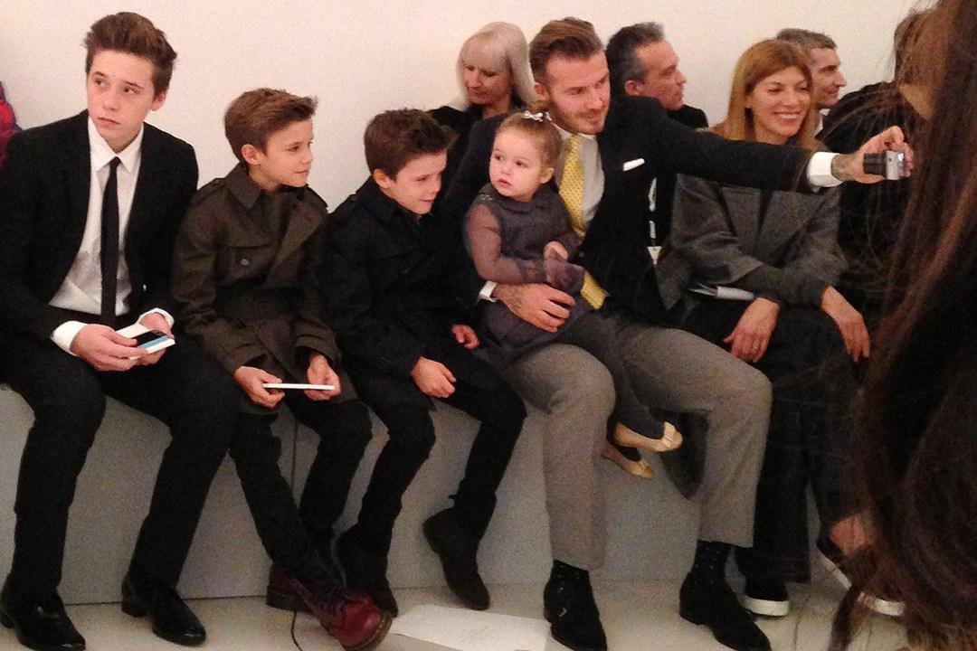 David Beckham, Harper, Cruz, Romeo and Brooklyn front row at Victoria's show