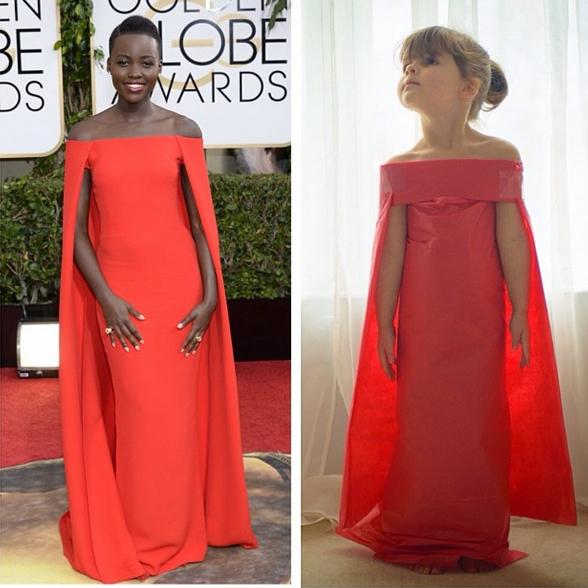 Mayhem's version of Lupita Nyong'o's Golden Globes dress.