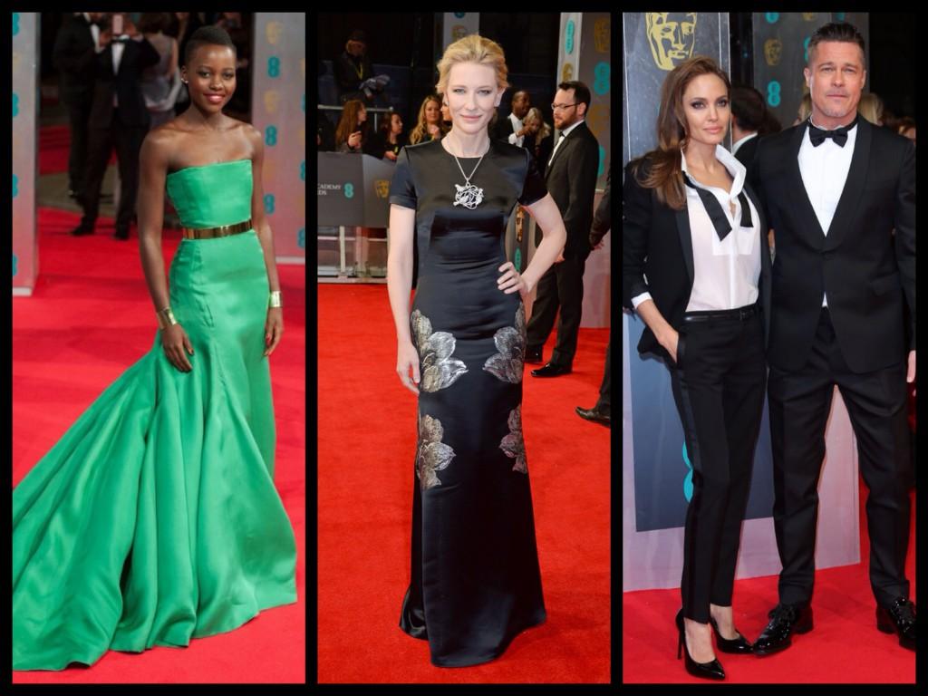 (From left) Lupita Nyong'o, Cate Blanchett, and Angelina Jolie  & Brad Pitt