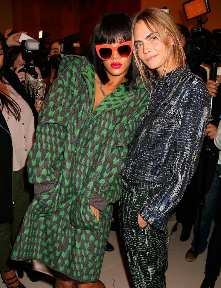 Paris Fashion Week: Rihanna and Cara Delevingne at Stella McCartney AW14.