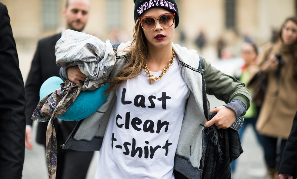 Cara Delevingne takes to fashion week with a slogan tee.