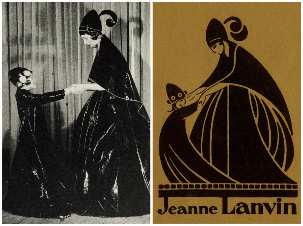 (Left): Jeanne Lanvin and her daughter, Marguerite, in 1907. This image inspired the Lanvin logo. (Right): The Lanvin logo, designed by Paul Iribe.