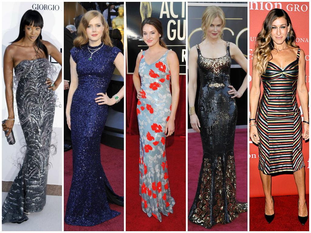 Celebrities wearing L'Wren Scott, from left: Naomi Campbell, Amy Adams, Shailene Woodley, Nicole Kidman, Sarah Jessica Parker