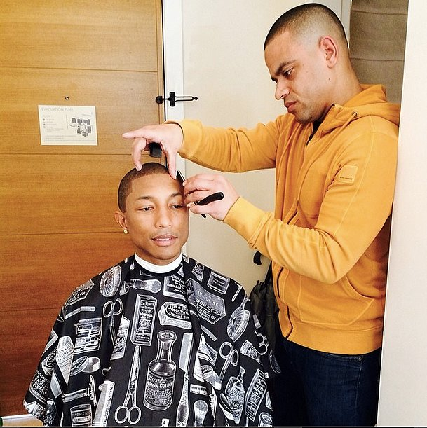 Oscars 2014: Pharrell Williams getting ready.