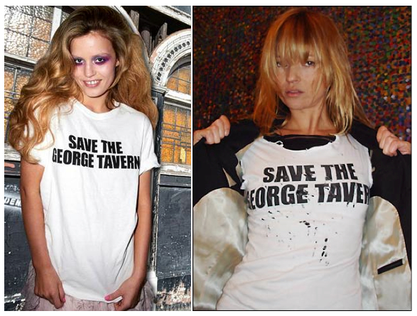 Georgia May Jagger and Kate Moss sport the 'Save The George Tavern' tee.