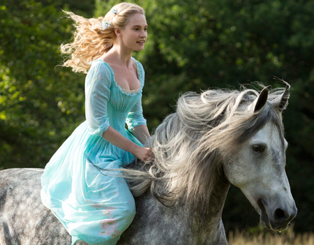 Lily James as Cinderella in a shot released from the forthcoming film.