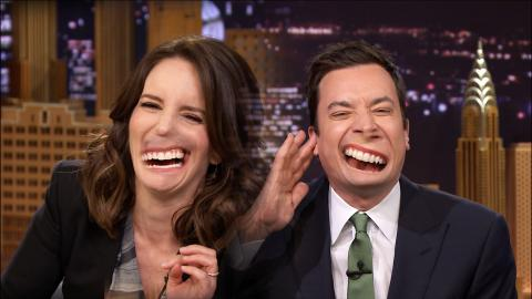 Jimmy Fallon and Tina Fey try out the lip flip on The Tonight Show.