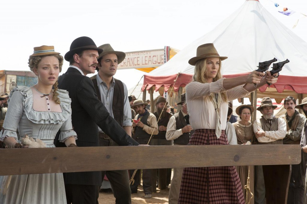 Amanda Seyfried, Neil Patrick Harris, Seth MacFarlane and Charlize Theron in A Million Ways to Die in the West.