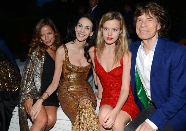 (From left:) Jade Jagger, L'Wren Scott, Georgia May Jagger and Mick Jagger.