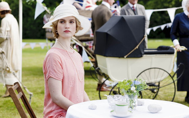 Lily James as Lady Rose in Downton Abbey.