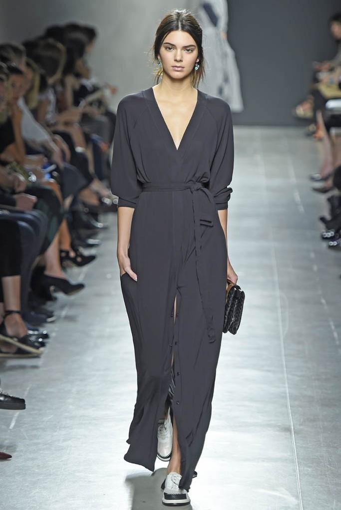 Kendall Jenner takes to the catwalk at Bottega Veneta MFW