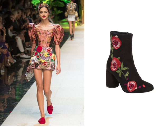 Dolce & Gabbana Statement Sleeves (left) Topshop Embroidered boots (right)