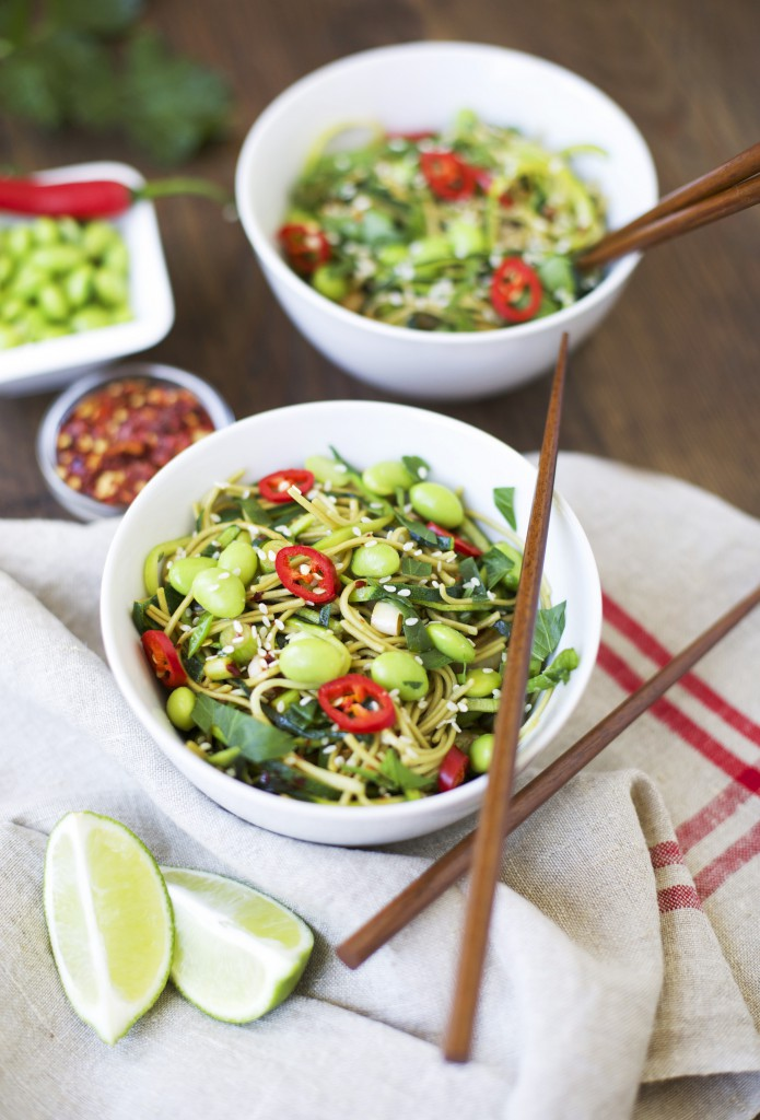 Green Tea & Courgette Noodles + Sweet Ginger Sesame Sauce with a Twist