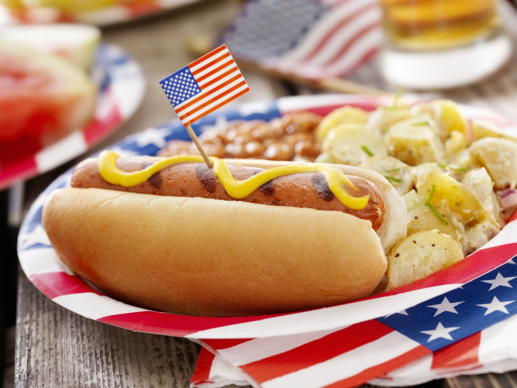 A typical Independence Day celebration includes lots of hot dogs