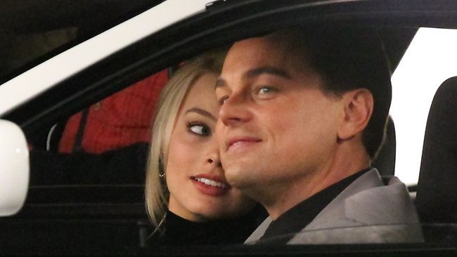 Leonardo Di Caprio and Margot Robbie on the set of Wolf of Wall Street