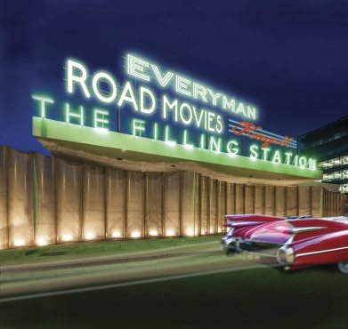 Everyman Cinema takes port at the King's Cross filling station.
