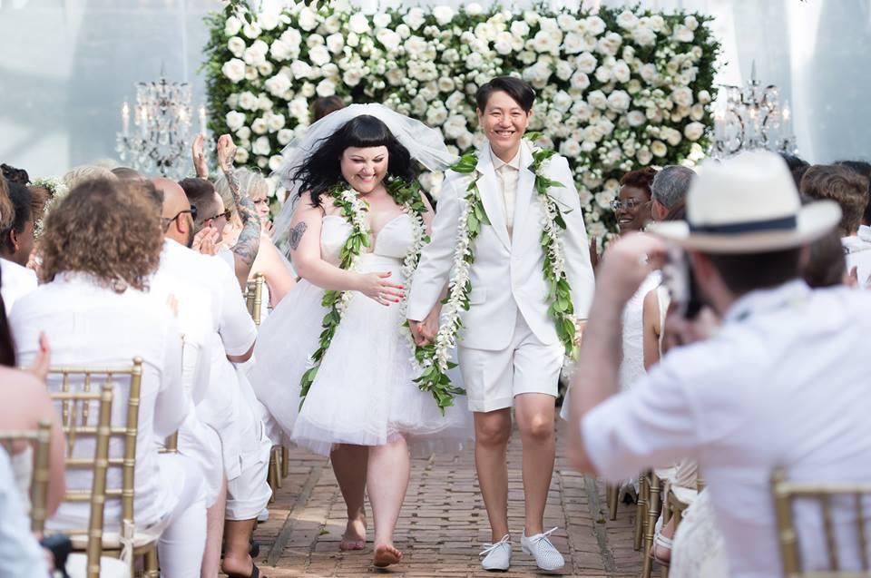 Beth Ditto marries long-term girlfriend Kristin Ogata in Hawaii.