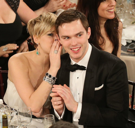 Nicholas Hoult and Jennifer Lawrence at the Golden Globes 2014