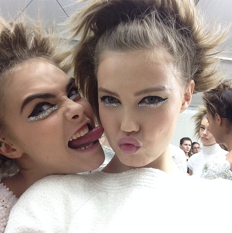 Cara Delevingne and Lindsey Wixson backstage at Chanel Haute Couture SS14