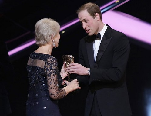 Prince William presented Dame Helen Mirren with a BAFTA Fellowship.