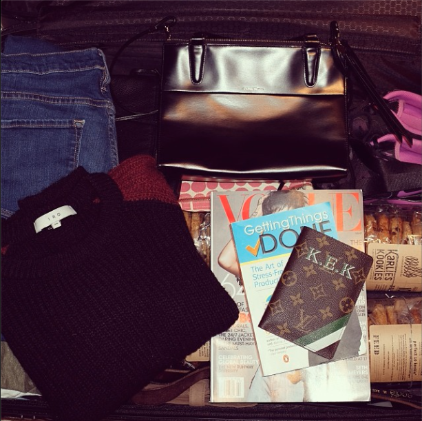 """Karlie Kloss took this picture of her luggage with the caption, """"Au revoir NYC!"""""""