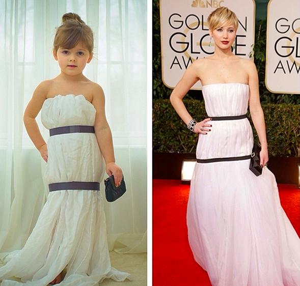 Mayhem recreating Jennifer Lawrence's Golden Globes dress.