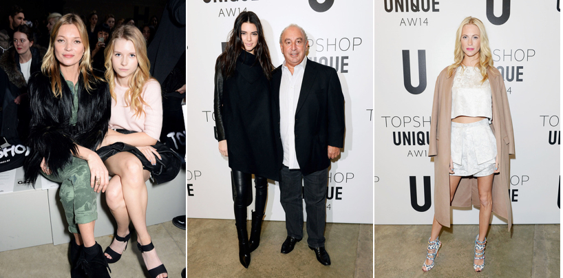 Topshop Unique - Kate Moss, Lottie Moss, Kendall Jenner, Sir Philip Green, Poppy Delevingne.