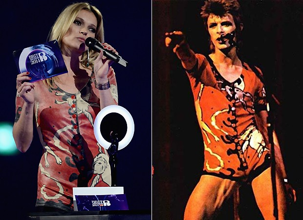 (Left): Kate Moss collecting David Bowie's award last night. (Right): Bowie in the same outfit in 1976!