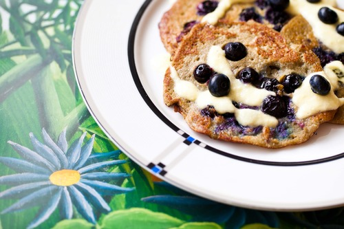 Hemsley & Hemsley blueberry pancakes and cashew mango cream.