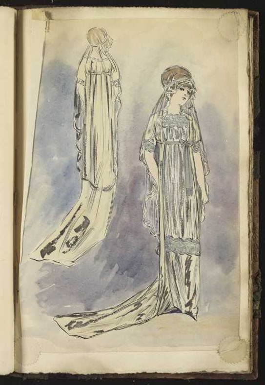 A sketch of the first Lanvin wedding dress, which debuted in the 1911 summer collection.