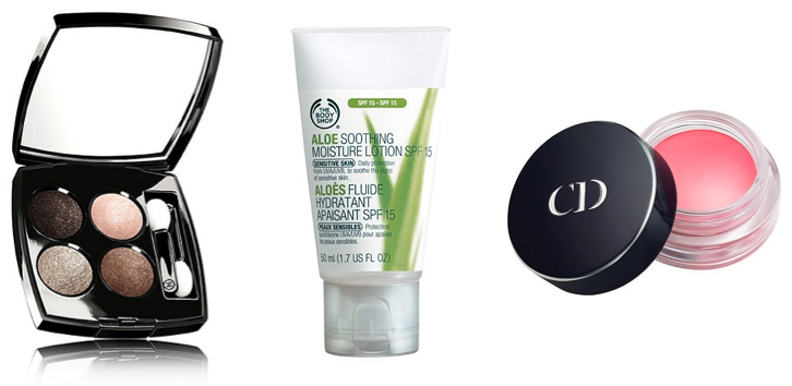 Chanel Les Quatre Ombres, The Body Shop Aloe Soothing Moisture Lotion SPF15, Dior Blush Creme.