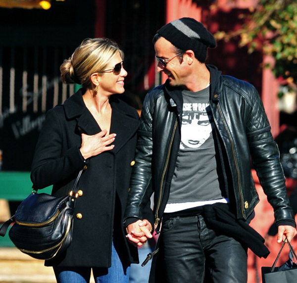 Jennifer Aniston and fiancé Justin Theroux.