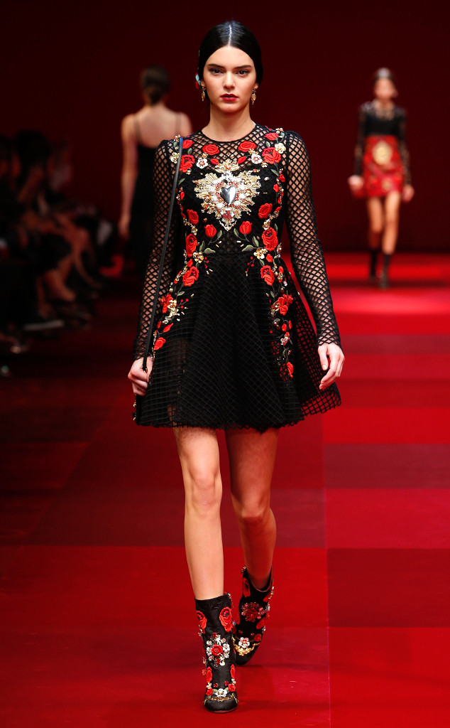 Kendall Jenner in Dolce & Gabbana's Spring 2015 collection, inspired by Spain's infiltration of Italy.