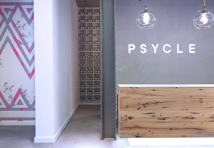 Psycle interior with cycling shoes in the background