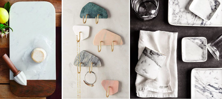 Aldo marble cheese board, Anthropologie marble hooks, H&M marble kitchenware